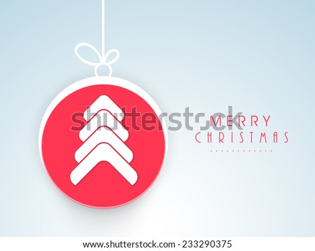 Stylish hanging X-mas ball decorated with beautiful Xmas tree for Merry Christmas celebrations. - stock vector