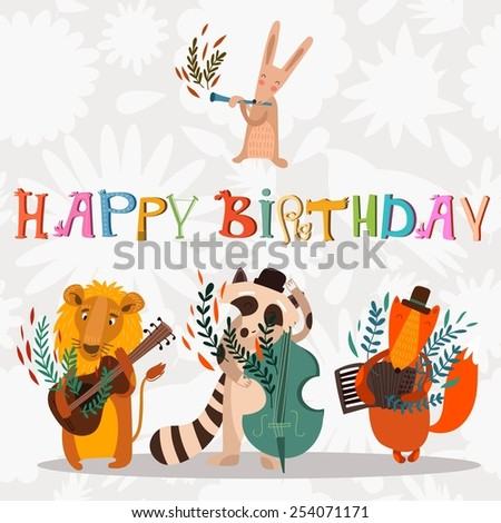 Stylish Happy birthday background. Animals - musicians on birthday party. Bright childish holiday card in vector.  - stock vector