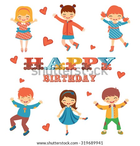 Stylish Happy birthday card with cute kids jumping.  Illustration in vector format - stock vector