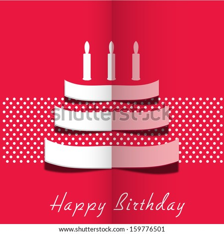 Stylish Happy Birthday greeting card with fold paper design of cake on vintage pink background.  - stock vector