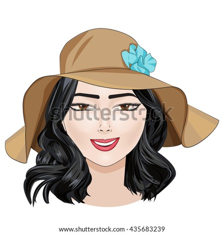 Stylish happy brunette girl with beautiful face in beige summer hat with blue flower,vector