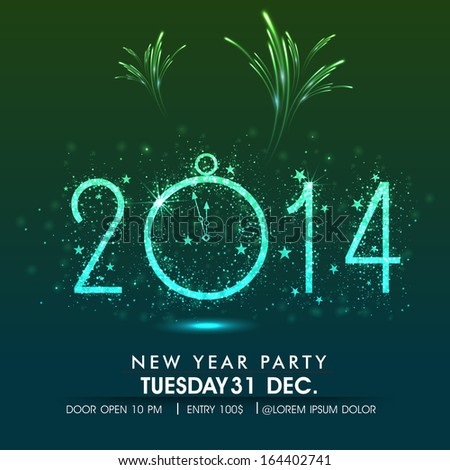 Stylish Happy New Year 2014 celebration flyer, banner, poster or invitation with shiny text and wall clock on shiny green and blue background.  - stock vector