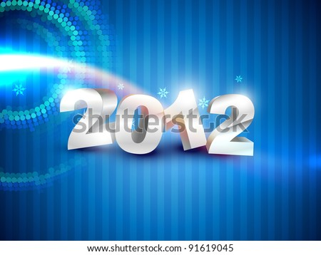 stylish happy new year on blue background