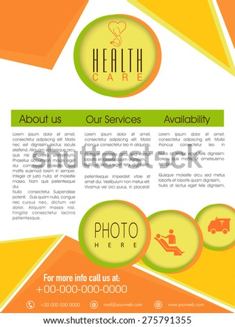 Stylish Health Care Flyer presentation with place holders for content and image. - stock vector