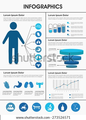 Stylish Healthcare infographics with human body, internal body organs and different graphs. - stock vector