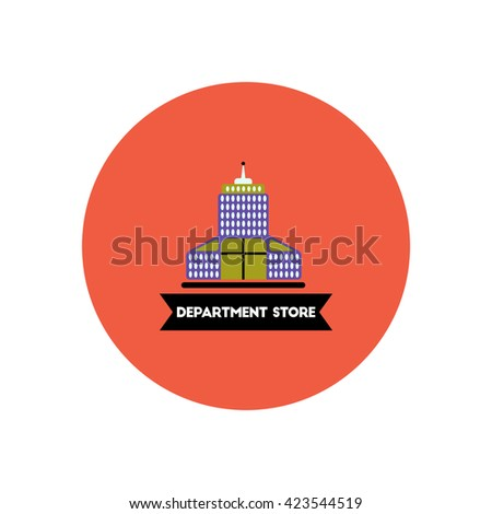 stylish icon in color circle  building Department Store