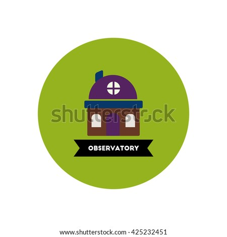 stylish icon in color circle  building observatory  - stock vector