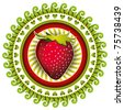 Stylish illustrated label with strawberry. Vector illustration. - stock photo
