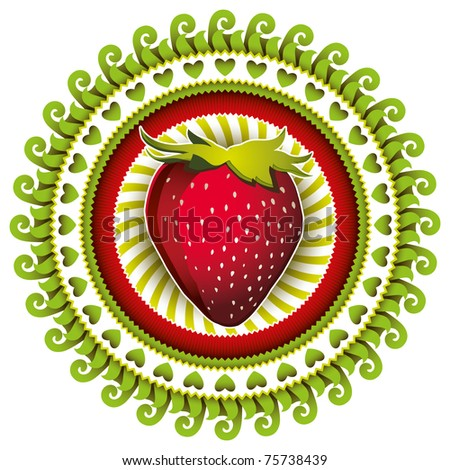 Stylish illustrated label with strawberry. Vector illustration. - stock vector