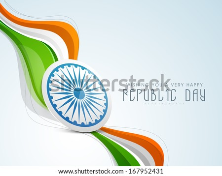 Stylish Indian Republic Day concept with ashoka wheel in national tricolours wave on blue background.  - stock vector