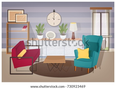 Stylish Interior Of Living Room Full Of Modern Furniture And Home  Decorations   Comfy Armchairs, Part 77