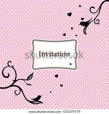 Stylish invitation card with birds and pink dotted background - stock vector