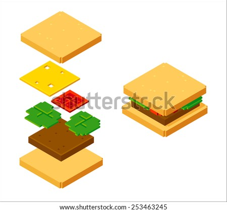 stylish isometric burger with layered ingredients isolated on white background - stock vector
