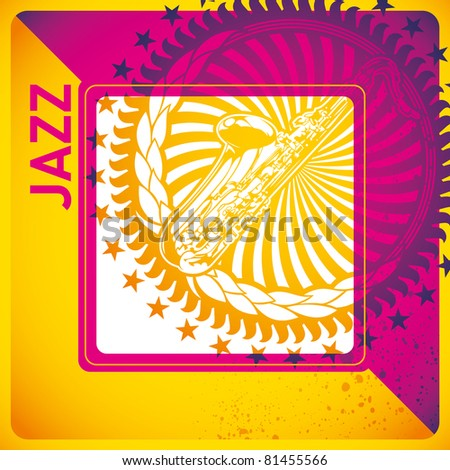Stylish jazz background in color. Vector illustration. - stock vector