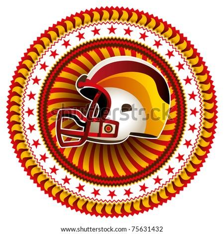 Stylish label with american football helmet. Vector illustration. - stock vector