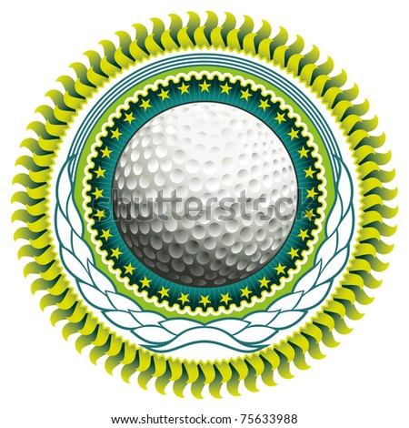 Stylish label with golf ball. Vector illustration. - stock vector
