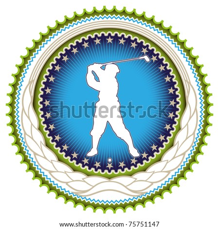 Stylish label with golf player silhouette. Vector illustration. - stock vector