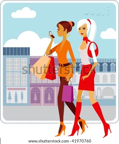 Stylish ladies walking down the street - stock vector