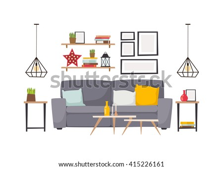 Stylish living room apartment interior with grey sofa and small coffee table. Light apartment interior with flooring and decorative signs. apartment interior. Apartment interior vector design. - stock vector