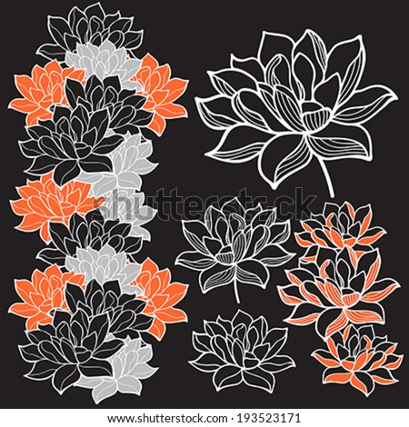 Stylish lotus flowers ornaments - stock vector