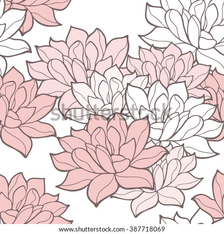 Stylish lotus flowers seamless background. Floral vector pattern. Rose quartz tint ornament.  - stock vector