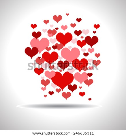 Stylish love card with red hearts - stock vector