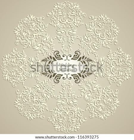 Stylish Luxury Wedding Invitation - stock vector