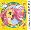 Stylish Magic pink pony with stars and rainbow - stock vector