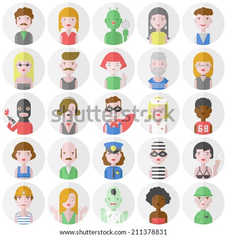 Stylish male and female iconic people characters collection of various occupation, profession and other social individuals portrait. Flat design style modern vector illustration icons set.  - stock vector