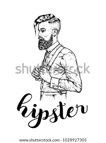 Stylish man with a beard. Vector illustration for a card or poster. Barbershop. Hipster.