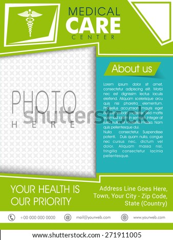 Stylish Medical Care Center template, brochure or flyer with Caduceus sign and space for your photo. - stock vector