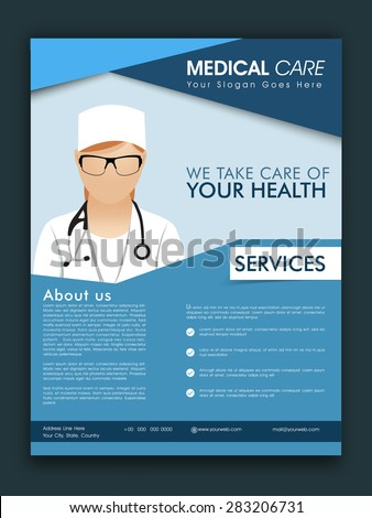 Stylish Medical Care template, brochure or flyer design with proper place holders for your content. - stock vector