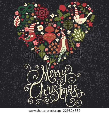 Stylish Merry Christmas card in cool dark colors. Awesome holiday background with cute heart made of birds in flowers in vector - stock vector