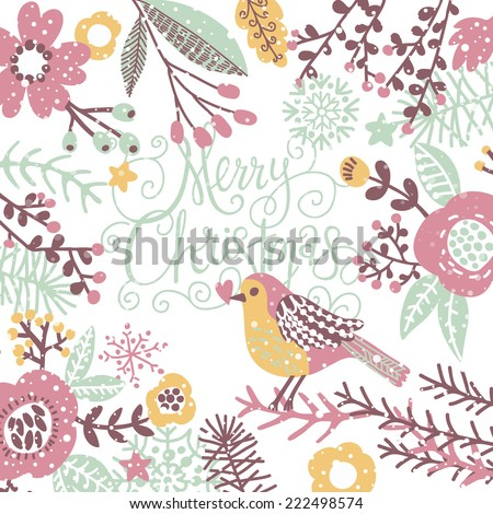 Stylish Merry Christmas Card In Pastel Colors. Awesome Holiday Background  With Birds In Flowers And
