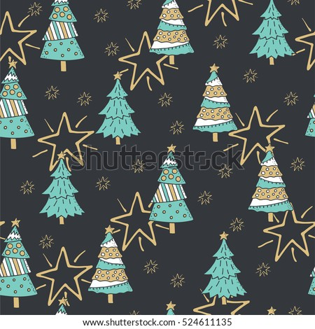 Stylish Merry Christmas seamless pattern with Christmas trees in vector.