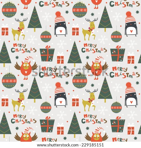 Stylish Merry Christmas seamless pattern with owl, deer, penguin, tree, gifts and toys in vector. Seamless pattern can be used for wallpapers, pattern fills, web page backgrounds - stock vector