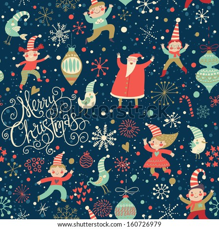 Stylish Merry Christmas seamless pattern with Santa Claus, Elves, birds, candies and toys in vector. Seamless pattern can be used for wallpapers, pattern fills, web page backgrounds, surface textures - stock vector