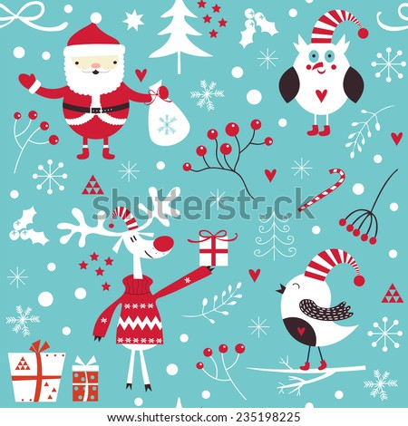 Stylish Merry Christmas seamless pattern with Santa Claus, Elves, owl, birds, candies and toys in vector. Seamless pattern can be used for wallpapers, pattern fills, web page backgrounds - stock vector