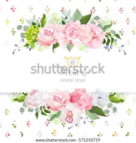 Stylish mix of flowers horizontal vector design frame. Hydrangea, rose, camellia, orchid, peony, carnation, eucalyptus, wildflowers. Rainbow confetti backdrop. All elements are isolated and editable
