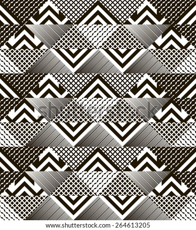 Stylish modern black and white patchwork seamless pattern. Multielement graphic  print. Vector illustration for fashionable design - stock vector