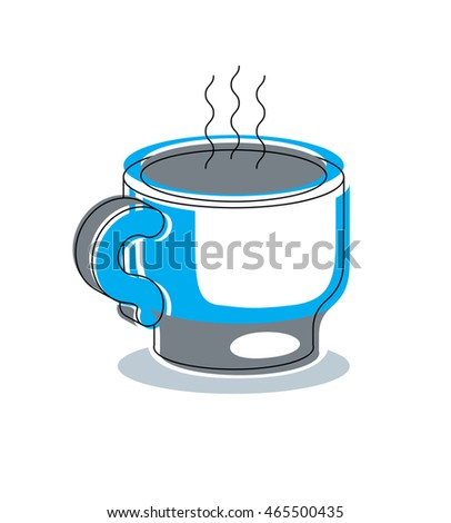 Stylish modern design, cup of hot tea or coffee isolated on white background, vector illustration.