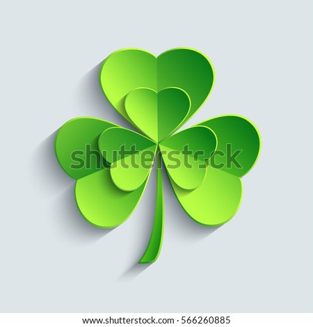 Shamrock stock images royalty free images vectors shutterstock stylish modern st patricks day card with green 3d leaf clover cutting paper stylized voltagebd Images