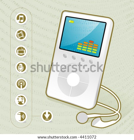 Stylish MP3 Player Icon with creative background and related media icons. Easy-edit layered file. - stock vector