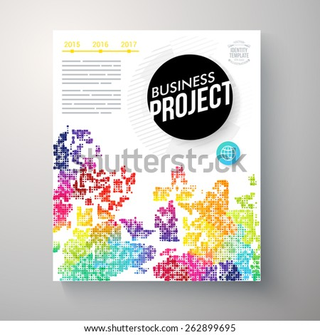 Stylish multicolored Business Project template with an abstract geometric design, time line and editable text over a graduated grey square format background, vector illustration - stock vector