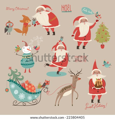Stylish New Year and Christmas set in vector. - stock vector