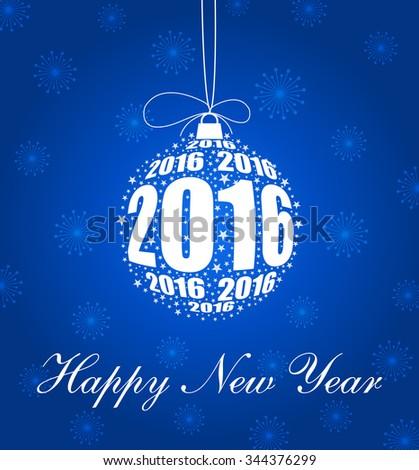 Stylish New Year 2016 Ornament Design - stock vector