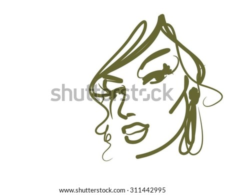 stylish original hand-drawn graphics portrait with beautiful young attractive girl model for design. Fashion, style,  beauty. Graphic, sketch drawing. Sexy  woman  - stock vector
