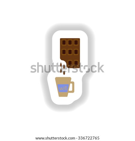 stylish paper sticker cup of hot chocolate - stock vector