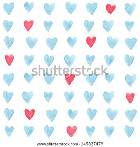 Stylish pattern with watercolor hearts. Vector illustration - stock vector