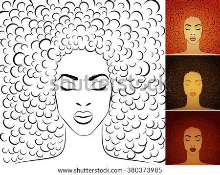Stylish portrait of young woman with big afro hair